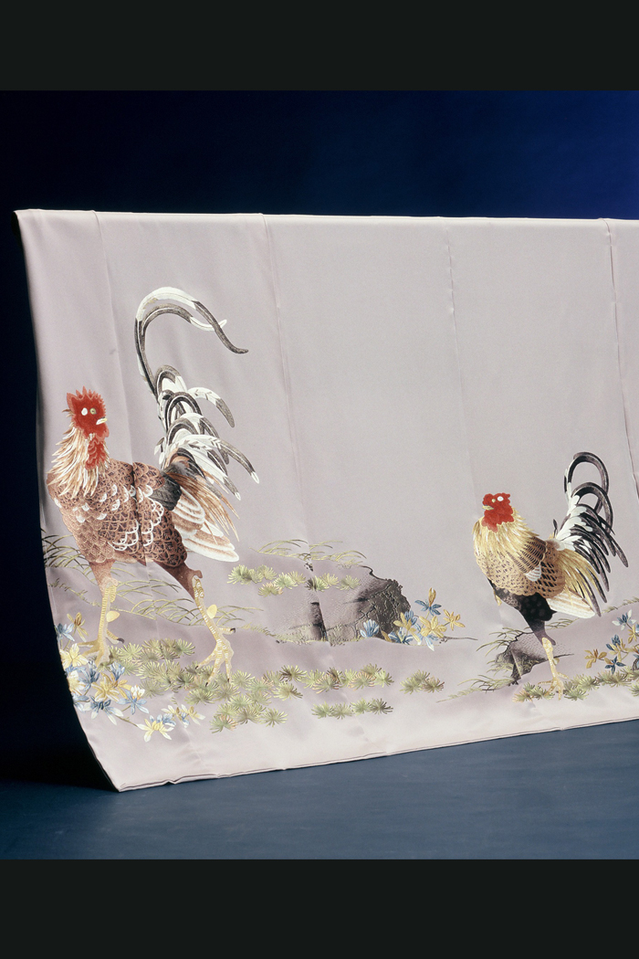 色留袖 鶏 蘇州刺繍