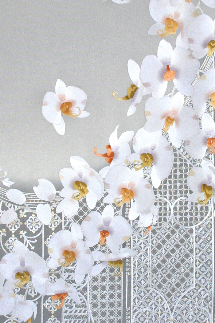 訪問着 蘇州刺繍 胡蝶蘭